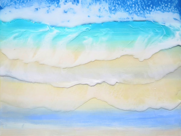 Raising waves resin painting