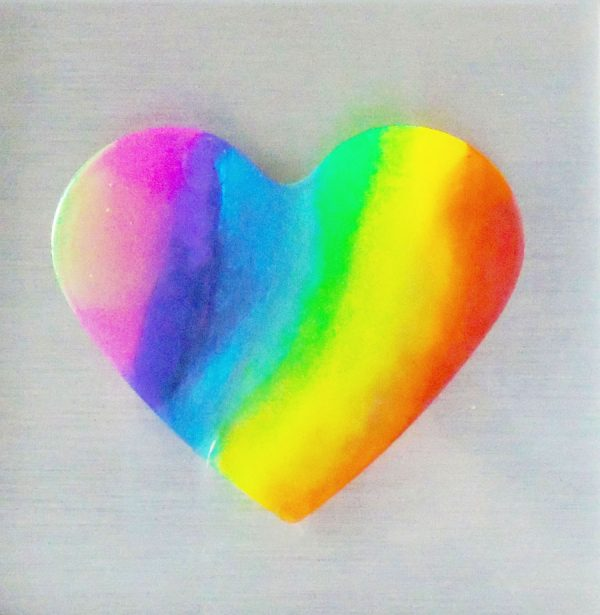 Rainbow heart resin artwork