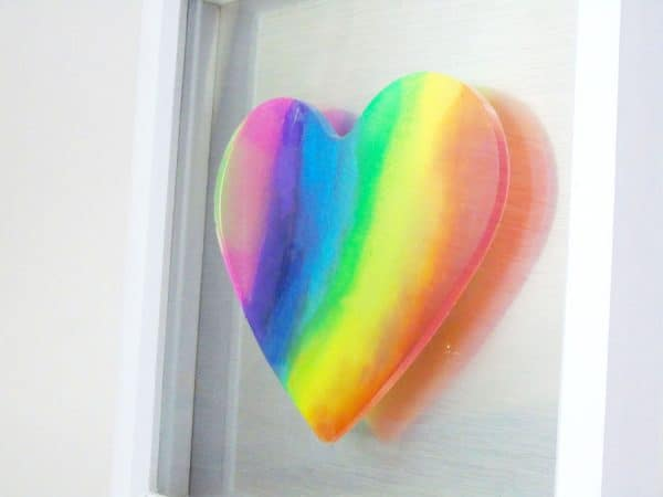 Rainbow heart close up