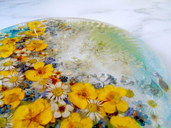 Buttercup, wildflowers large resin coaster