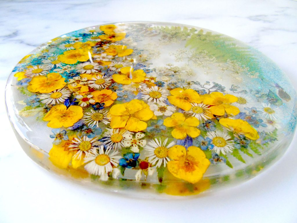Buttercup, wildflowers resin coaster